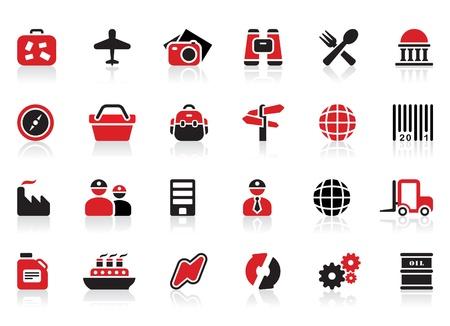hospedaje: 24 iconos de la industria del turismo y Vectores