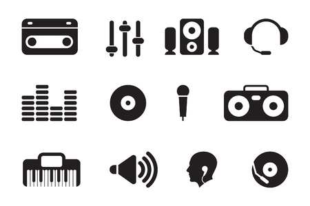 black computer icons Stock Vector - 11206295