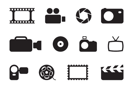 camera icon set: black photo & video icons