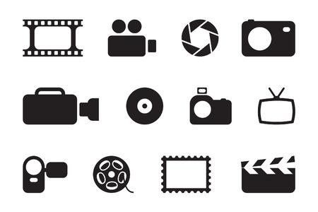 noir icônes photo et vidéo Vecteurs