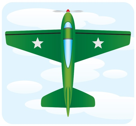 midair: green war airplane