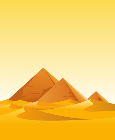 pyramids in the desert Vector