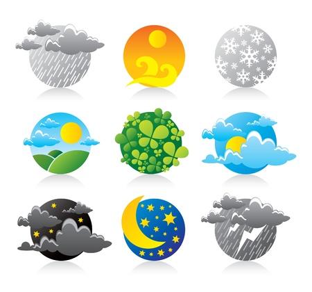 sol luna: los iconos de la temporada Vectores