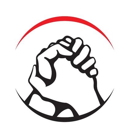 dandose la mano: victoria Vectores