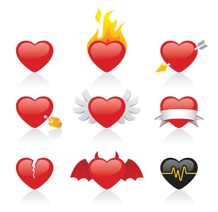 red love heart with flames: corte del coraz�n Vectores