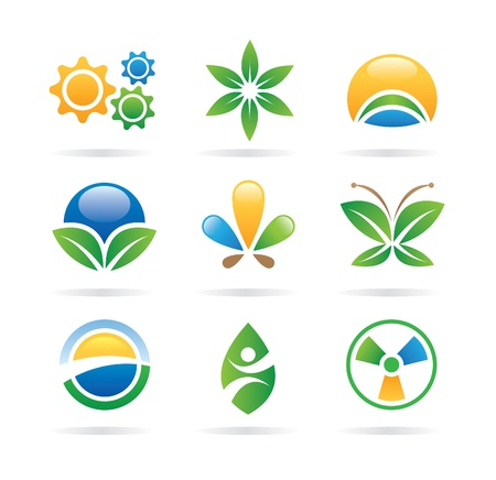 insect on leaf: eco icons - logos Illustration