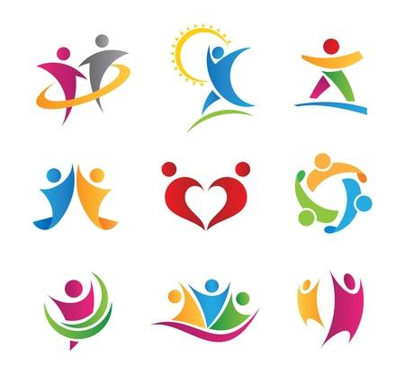 Menschen in Aktion Logos und Icons Standard-Bild - 20370662