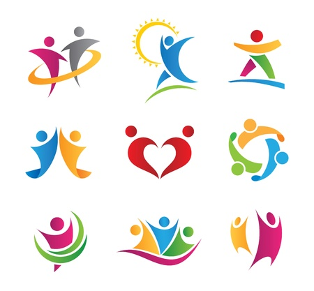 people in action logos and icons