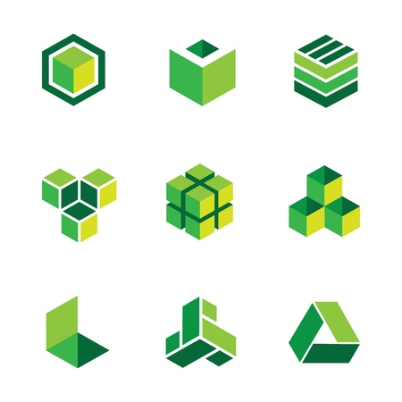 abstract cubes: Green box  and icons
