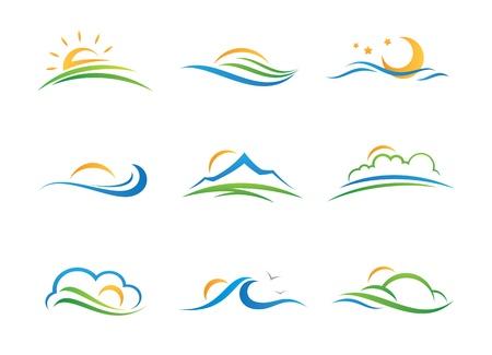 logo du paysage et de l'icône