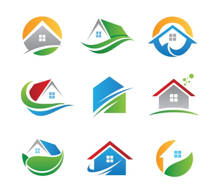 Eco casa icona e logo Archivio Fotografico - 20846719