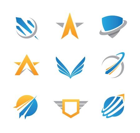 avioncitos: Acci�n logo militar y el icono Vectores