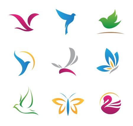 Vliegende logo's en iconen