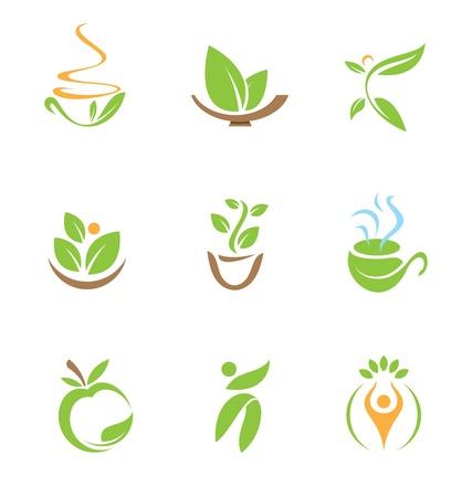 saludable: Logo comida sana y el icono Vectores