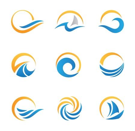 el sol: Sol y playa logotipos e iconos