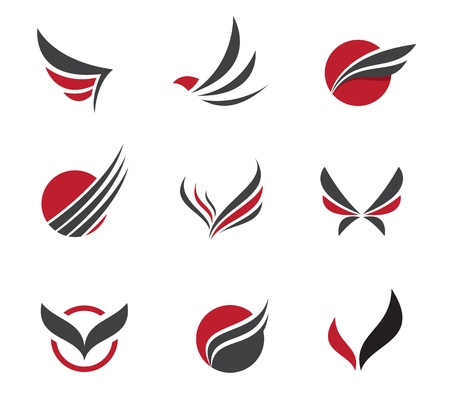 Black set of wing symbols Illustration
