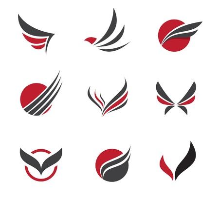 Zwarte reeks vleugel symbolen