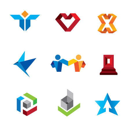 innovation: Fold symbols of human creativity and innovation genius logo template