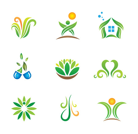 weeds: My green social world nature logo template Illustration