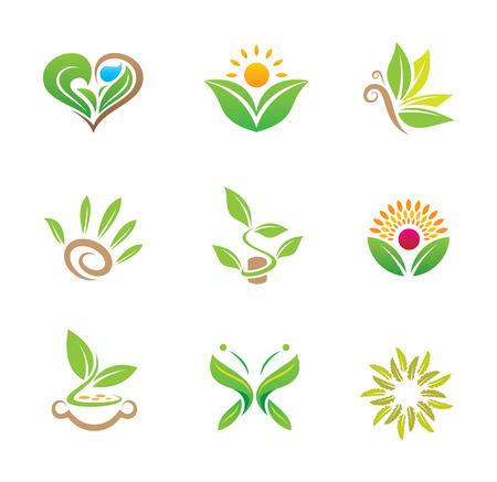 Mundial de la Naturaleza insignia de la plantilla vector verde y saludable