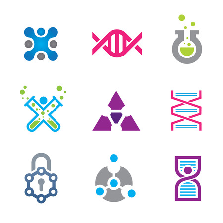 cutting edge: New world of cutting edge technology in science logo template Illustration