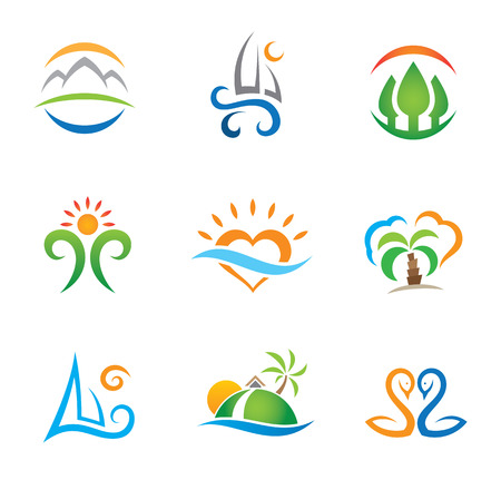 Experience travel paradise and live free logo template Illustration