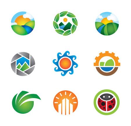 rios: Bonito colorido da paisagem da natureza do logotipo capturado template vector Ilustra��o