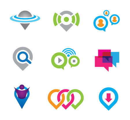rich couple: World location virtual social community network and real geographic positioning logo template set Illustration