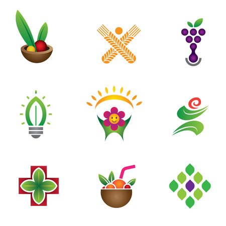 Unique food   health symbol set logo template Vector