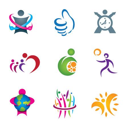 logos negocios: Personas sociales positivos que exploran y viven la vida feliz y saludable Vectores