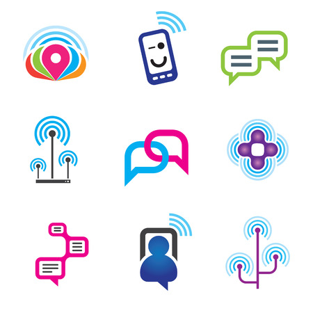 Social communication phone and internet network Illustration