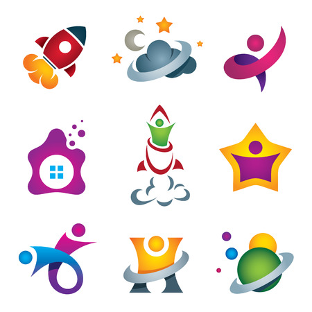 Man exploring the deep space - rocket launch and flying to the stars designer concept icon company logo template