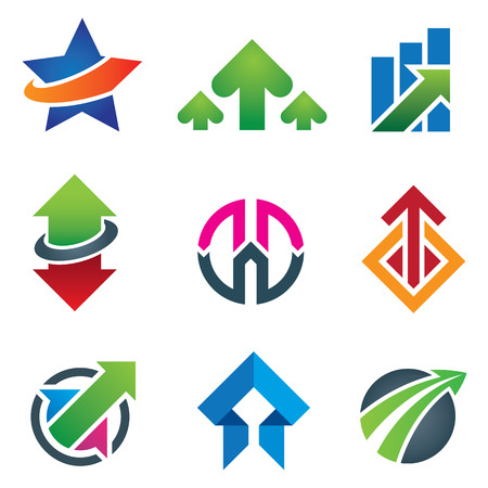 business finance: Up star arrow business marketing and finance economy icon set