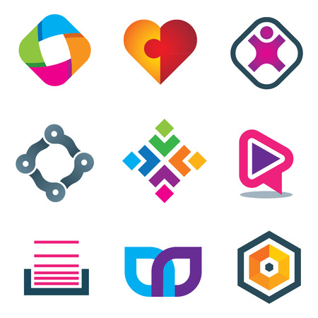 Link connection symbol icons of social media and network Vector