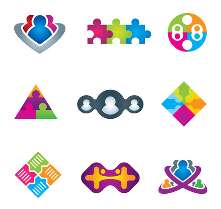 Unification of social community network and communication icons on white background vector illustration Illustration