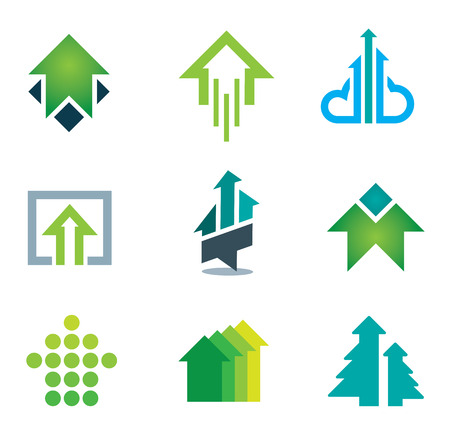 Green success business icons set in motivation and economy finance and banking Vector