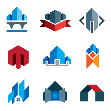 house work: My new age generation - historic virtual building construction architecture company label and creation of 21st century smart house or family home icon set