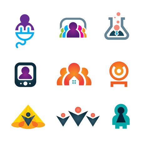 People shape with great ideas in objects and new technology icon set