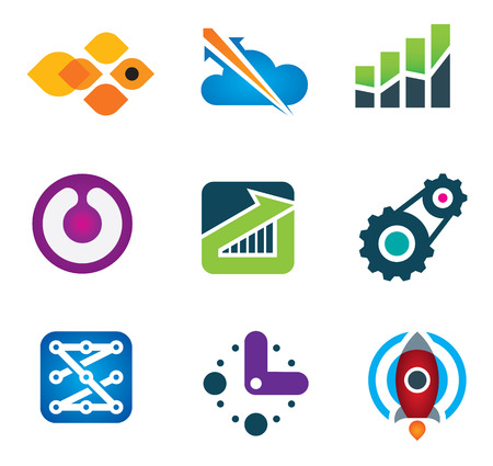 time sharing: Modern society rapid progress growth in intelligent computer technology science icon set Illustration