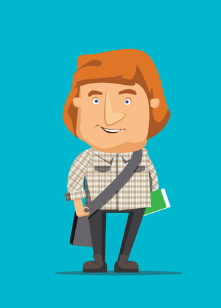 Australian man traveling and holding book vector illustration Vector