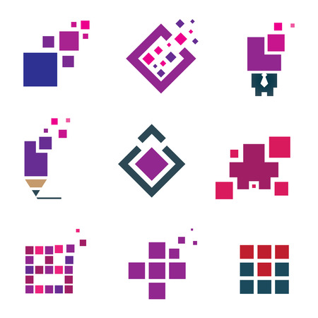company building: Human creativity idea building block cube material experience icon set pixel Illustration