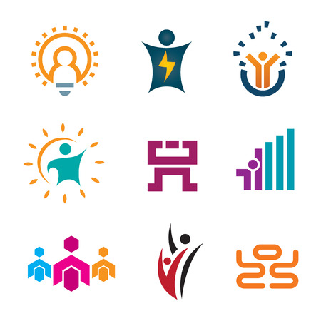 Creative thinking idea people of new age technology logotype construction and app play development icon set Vector