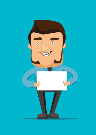 Man holds a blank white peace of paper vector illustration icon Vector