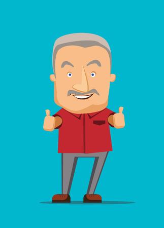 El viejo dando un pulgar hacia arriba ilustración vectorial