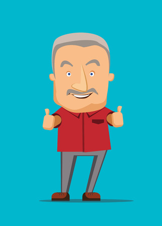 Old man giving a thumbs up vector illustration Иллюстрация