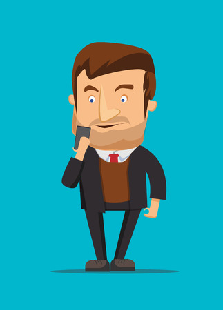 Gentleman holding and using new android phone vector image illustration