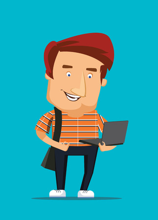 University college student looking at laptop computer vector illustration Vector