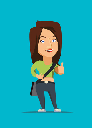 Beautiful girl showing thumb up vector illustration Vector