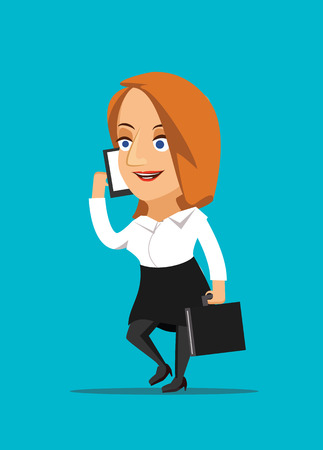 Businesswoman talking on smartphone and making a deal vector illustration Vector