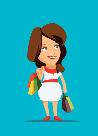 Woman shopping new clothing with class in New York vector illustration Vector